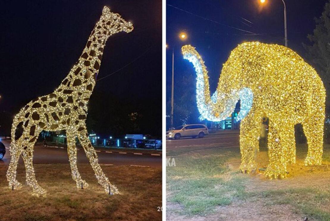 Светящиеся фигуры животных устанавливают в Харькове