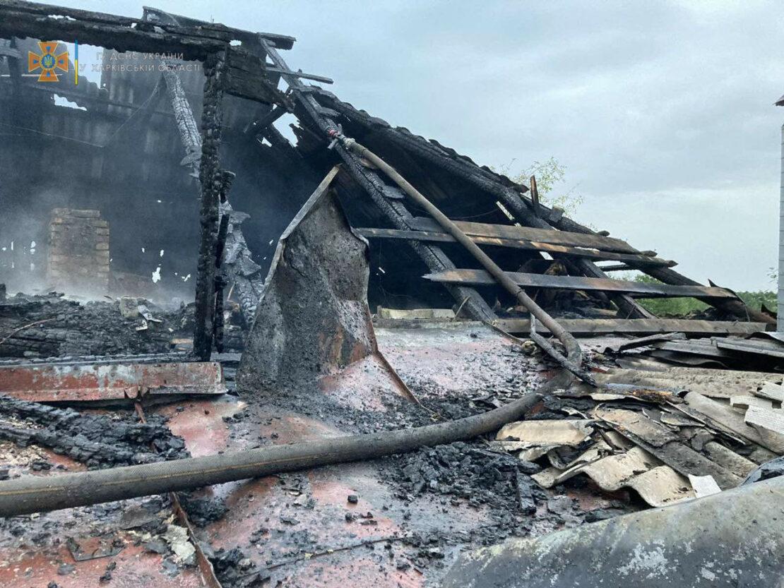 В пожаре на Харьковщине пострадал хозяин частного домовладения